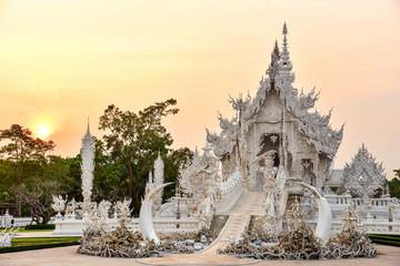 Wat Rong Khun During Golden Hour in Chiang Rai, Thailand