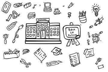 Hand Draw Sketch of School or education stuff