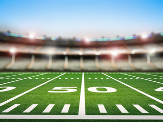 football field with stadium blurred