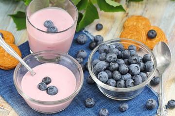 Blueberry yogurt and fresh berries