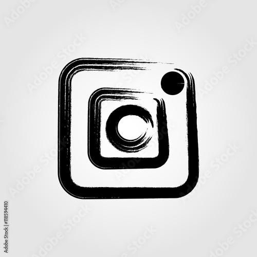 Camera icon grunge style brushes