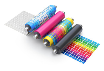 CMYK printing explanation concept with set of printer rollers and color chart