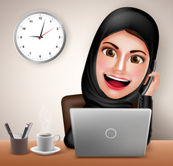 Female muslim arab vector character happy working in office desk with laptop holding telephone and calling wearing black islamic dress. Vector illustration.