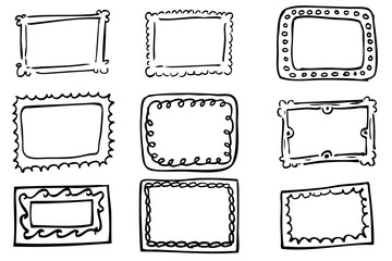 Hand draw sketch outline of Frames, isolated on white