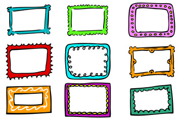 Hand draw sketch of Frames in various color, isolated on white