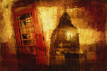 London oil art illustration