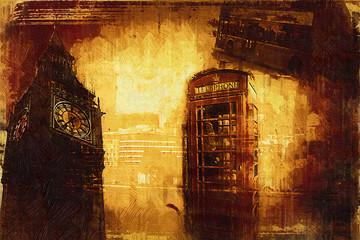 London oil art illustration