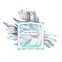 Bottle of perfume and flowers 1. Ink and watercolor sketch 5. Isolated on white background