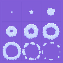 Cloud explosion effect animation. Game design cartoon animation frames. Flash.