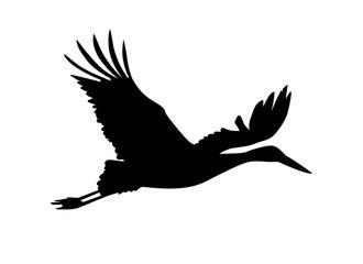 Stork bird. Vector silhouette