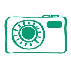 Handgezeichnetes Kamera-Icon in grün