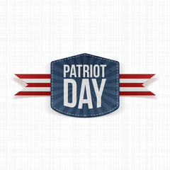 Patriot Day realistic Label with Ribbon
