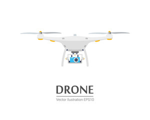 Drone with a camera taking photography or video recording. Vector Icon on isolated background.
