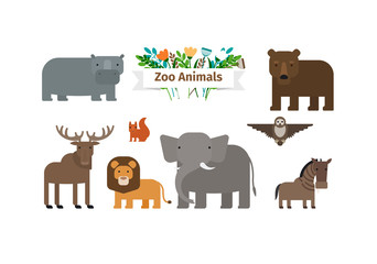 Zoo Animals Flat Design Vector Icons Set