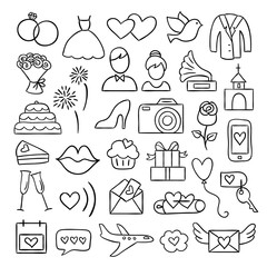 Wedding doodle icons. Hand drawn wedding and marriage illustrations. Bride, groom, love, party, honeymoon