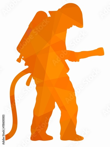 silhouette of a fireman vector draw