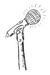 Hand Draw Sketch of Microphone, outline, isolated on white