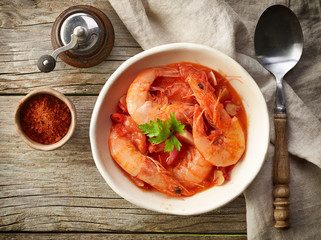 bowl of tomato and shrimp soup