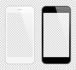 Realistic smart phone Vector Mock Up. Fully Re-size-able. Easy way to place image into screen Smartphone, for web design showcase, product, presentations, advertising in modern style