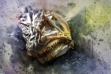 Überreste eines Stockfisches
