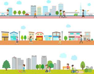 街並みと人々の風景イラスト 白背景