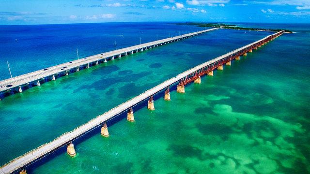 Aerial view of Bahia Honda State Park Bridges, Florida - USA