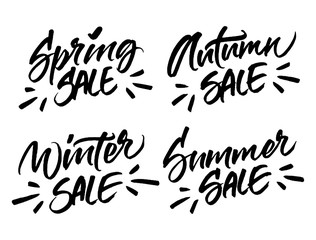 Winter, Spring, Summer and Autumn sale lettering