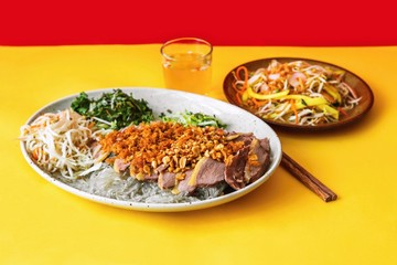 Portion of roasted duck,noodle and salad,asian food on yellow-red background