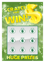 Lottery Instant Scratch Card