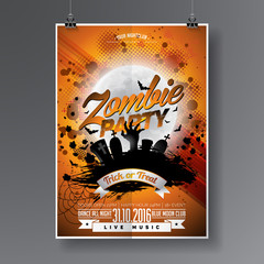 Vector Halloween Zombie Party Flyer Design with typographic elements on orange background. Graves and moon.