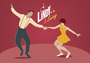 Young couple dancing swing or lindy-hop