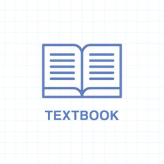 Textbook icon on lined paper background.