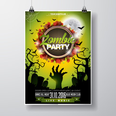 Vector Halloween Zombie Party Flyer Design with typographic elements on green background. Graves and moon.