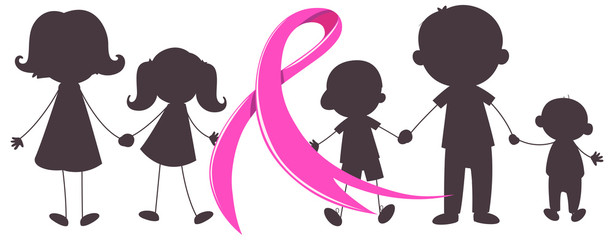 Pink ribbon and many children