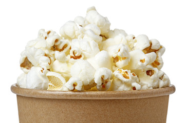 close up of popcorn in a bucket isolated on white background