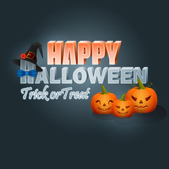 Holiday, design background with pumpkins, stylized 3d text and witch's hat for Halloween, event celebration