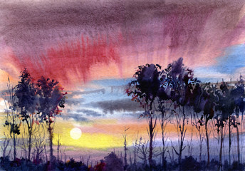 watery landscape.sunset and trees.watercolor hand drawn illustration.summer.