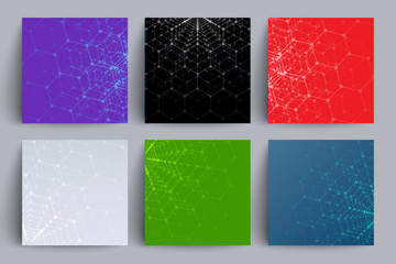 Scientific backgrounds set. Colorful polygons. Applicable for covers, placards, posters, flyers and banner designs.