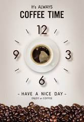 happy time. coffee cup and coffee bean on vintage paper background. over light