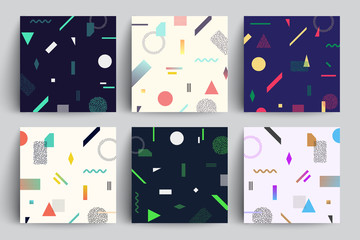 Chaotic geometry backgrounds set. Applicable for covers, placards, posters, flyers and banner designs.