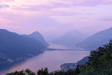 View at lake of Lugano at sunset