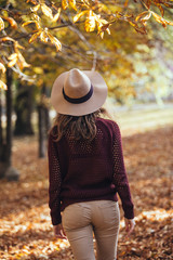 Rear view of brunette girl in autumn/fall park in brown hat, swe