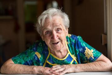 Portrait emotional elderly woman.