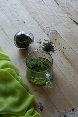 Refreshing Chinese green tea on the boards