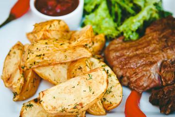 Beautiful potatoes fried in Korean and ribeye steak