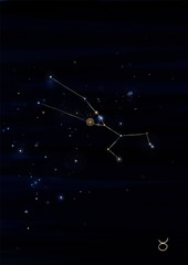Taurus constellation drawing on its real sky location