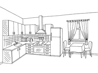 Kitchen room interior black white graphic art illustration sketch vector