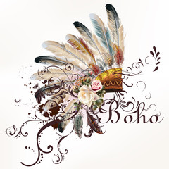 Vector tribal design in boho style. Headdress with feathers