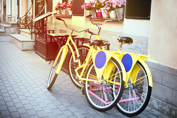 Two bicycles in the Parking at the cafe