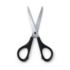 Scissors - opened.3D rendering.Isolated on white background.Top view.